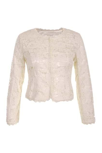 Lace Trim Floral Jacquard Cream Jacket