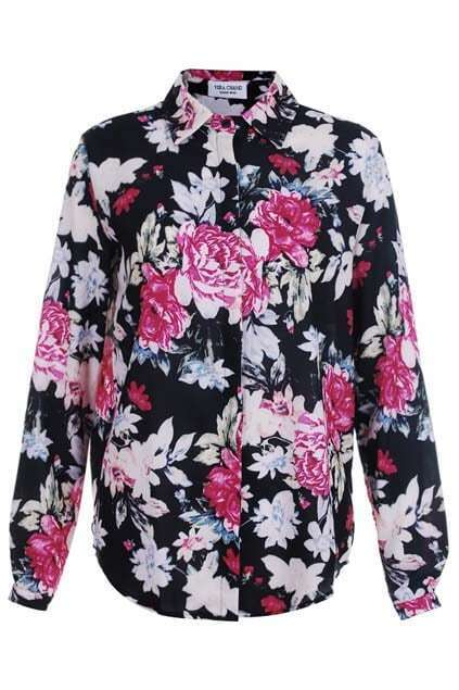 Retro Floral Print Black Blouse