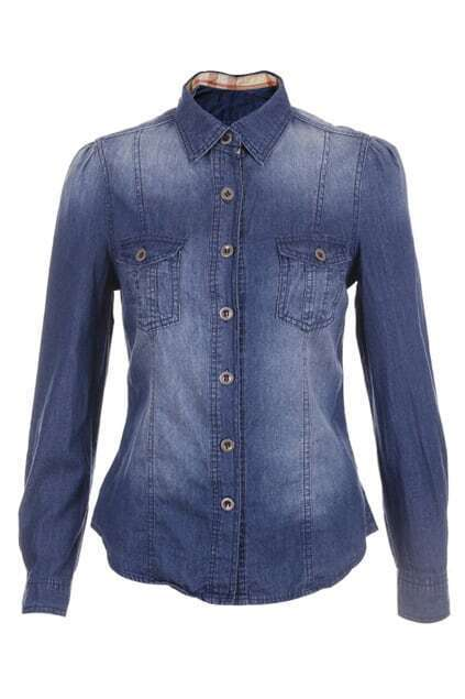 Threadbare Single Button Dark Blue Blouse