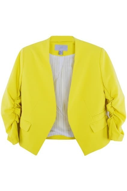Shoulder Pads Short Yellow Blazer