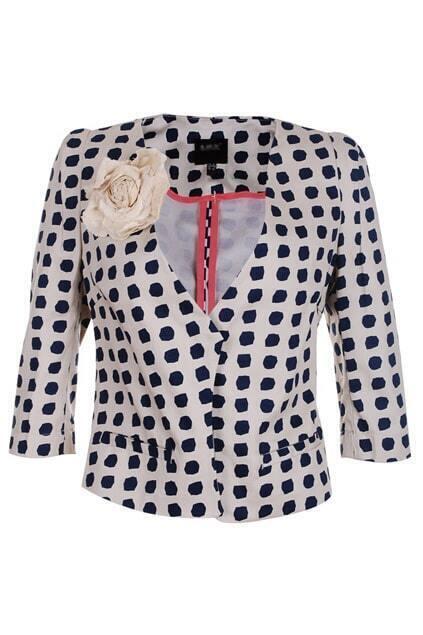 Dots Print V-neckline Short Blazer
