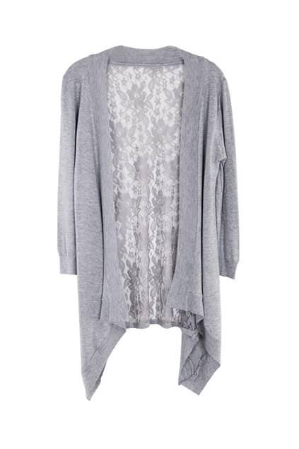 Lace Anomalous Hem Grey Cardigan