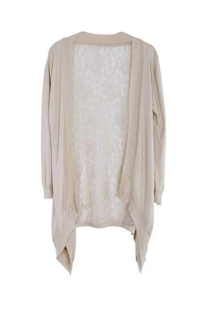 Lace Anomalous Hem Khaki Cardigan
