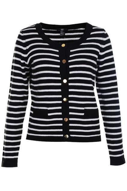 Copper Button Black-white Stripe Knitted Cardigan