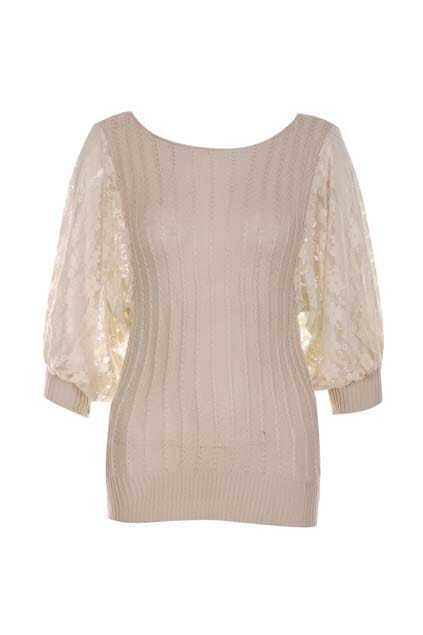 Splicing Lantern Sleeve Cream Jumper