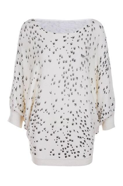 Oversized Swallow Print Cream Jumper