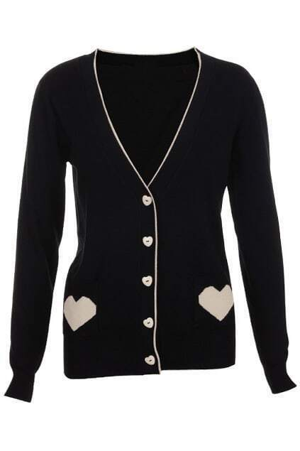 Heart Jacquard Black Cardigan