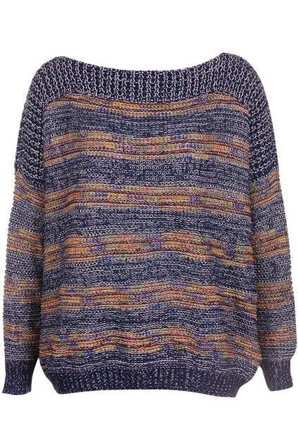 Knitted Colorful Stripe Blue Jumper