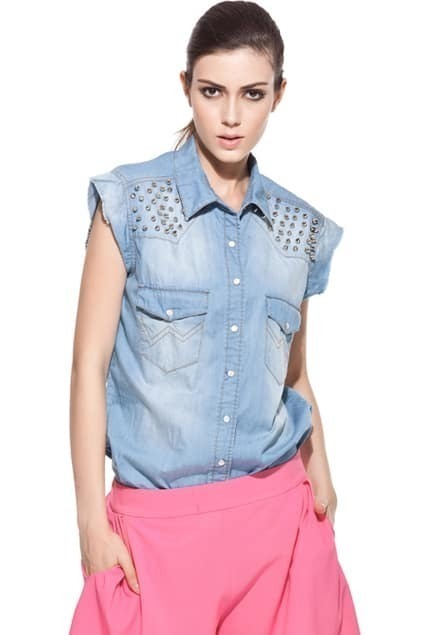 Boyfriend Rinse Threadbare Rivets Embellished Vest