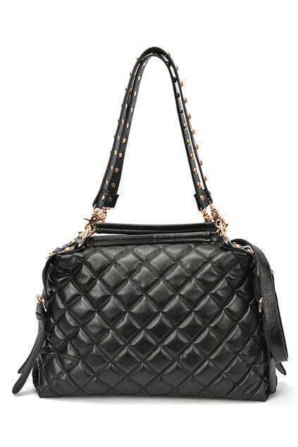 Tridimensional Pleated Black Quilted Bag