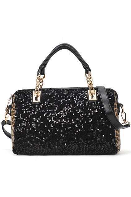 Leopard Paillette Stud Bag