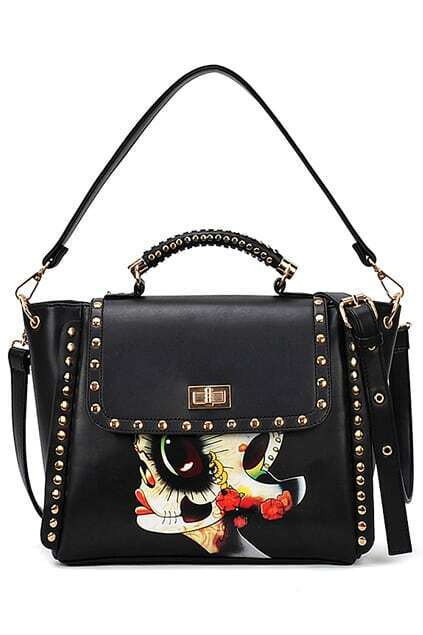Facial Type Studded Twistlock Black Bag