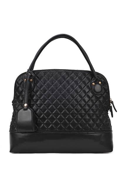 Lozenge Rivets Black Quilted Bag
