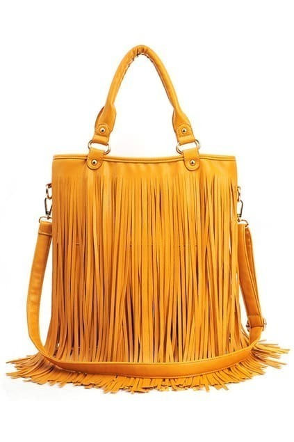 Yellow Tassel Stud Bag