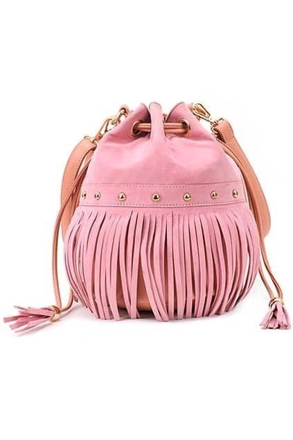 Pink Suede Drawstring Tassel Bag
