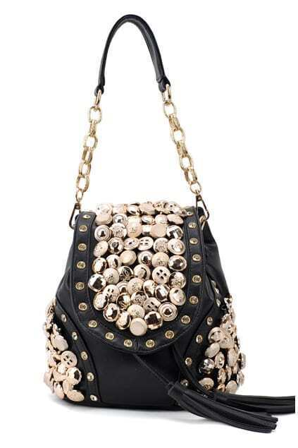Retro Fashion Buttons Black Bag