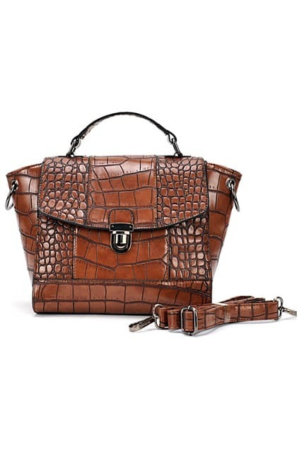 Retro-style Brown Croc Bag