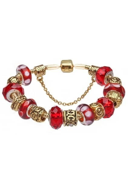 SOUFEEL Sterling Silver Gold Plated Hot Red Bracelet