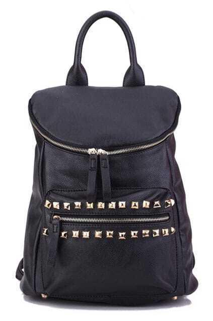 Rivet Black Zip Bag