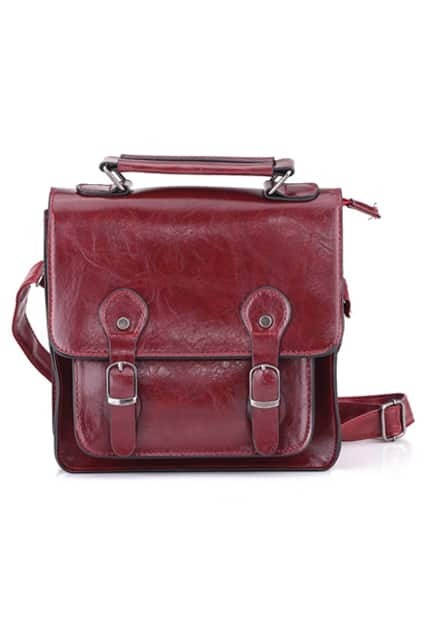 Fold Over Single Shoulder Purplish-red Bag