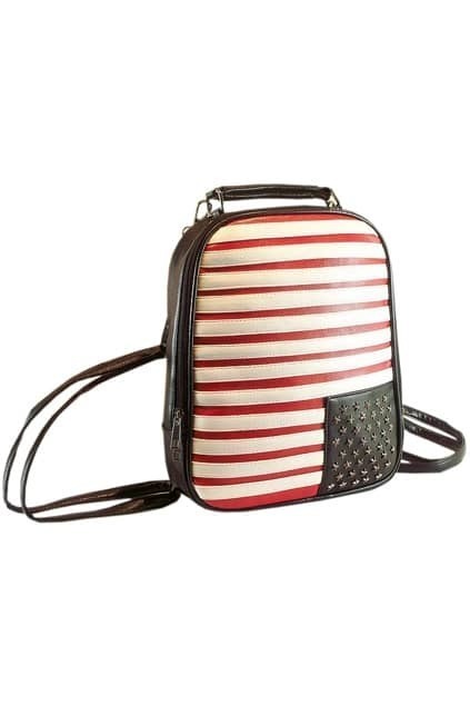 Retro Black-red Stripes PU Backbag