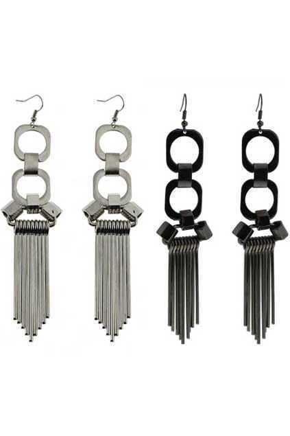 Circle Tassel Pendant Earrings