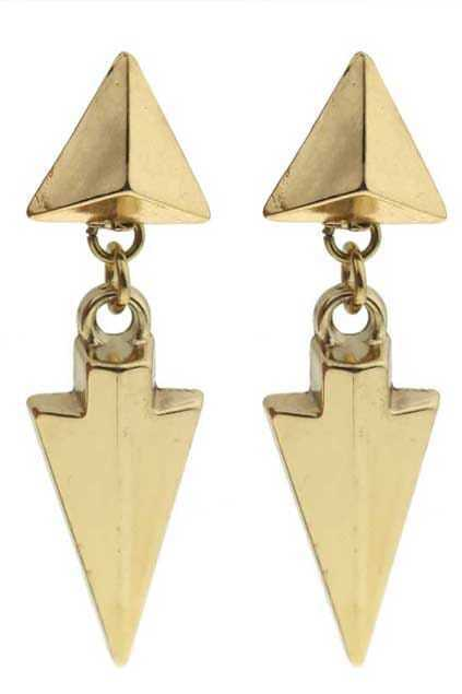 Triangle Stud Arrow-shape Golden Earrings