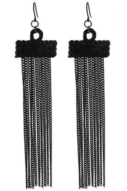 Black Tassel Pendant Earrings