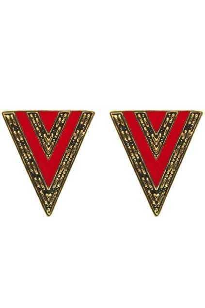 Oversized Engraved Triangle Earrings