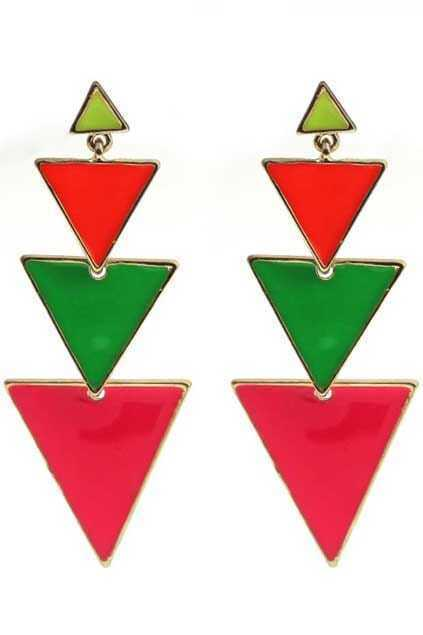 Colorful Triangle Pendant Earrings