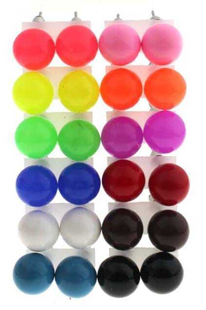 Roundness Candy-like Fluorescence Color Stud Earrings