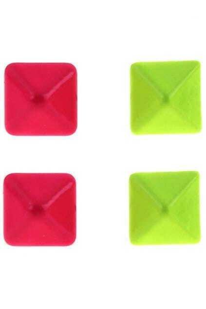 Oversized Pyramid Fluorescence Color Stud Earrings