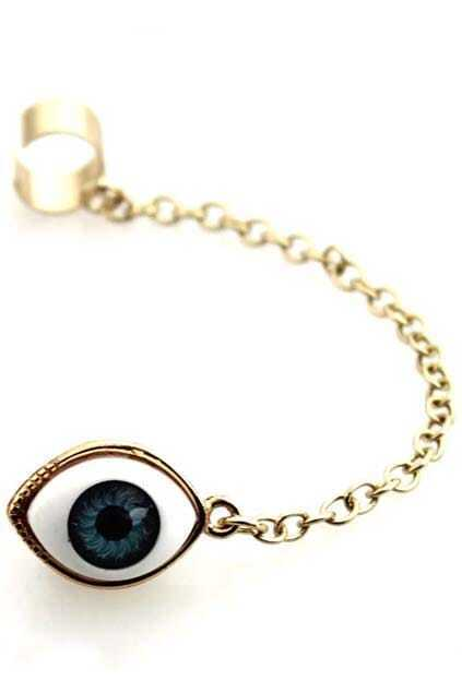 Chain Eye-shaped Ring Single Earring