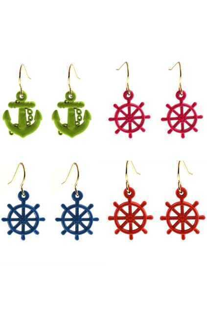 Steering Wheel Anchor Head Pendant Earrings