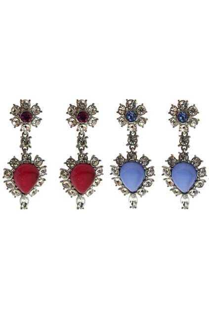 Flower-shaped Jewel Diamante Pendant Earrings