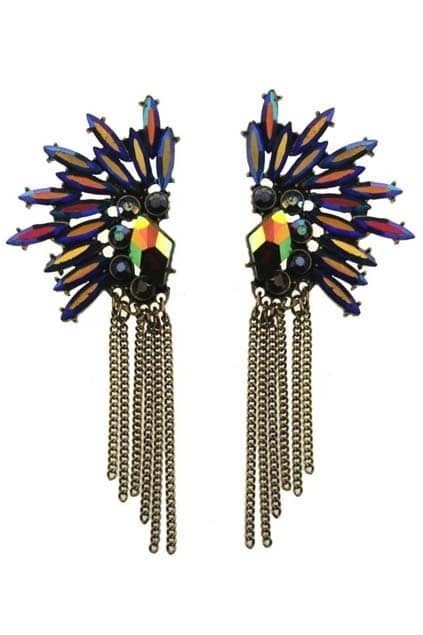 Colorful Jewel Tassel Pendant Earrings