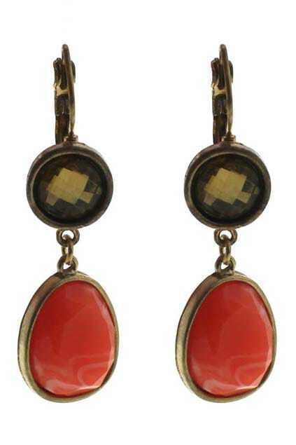 Colored Jewel Diamante Pendant Earrings