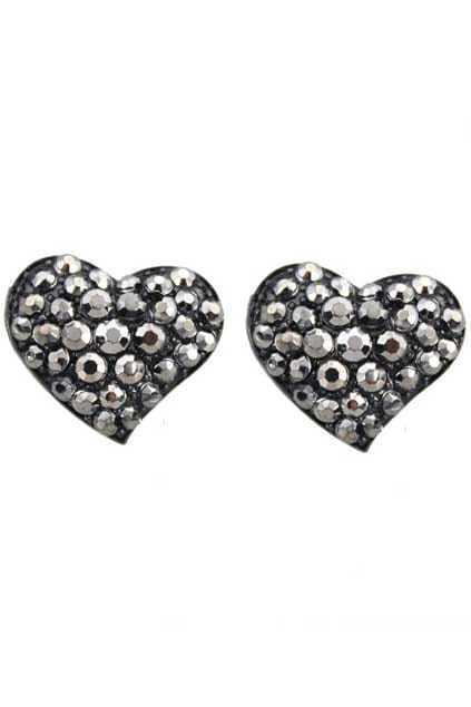 Heart-shaped Diamante Stud Earrings