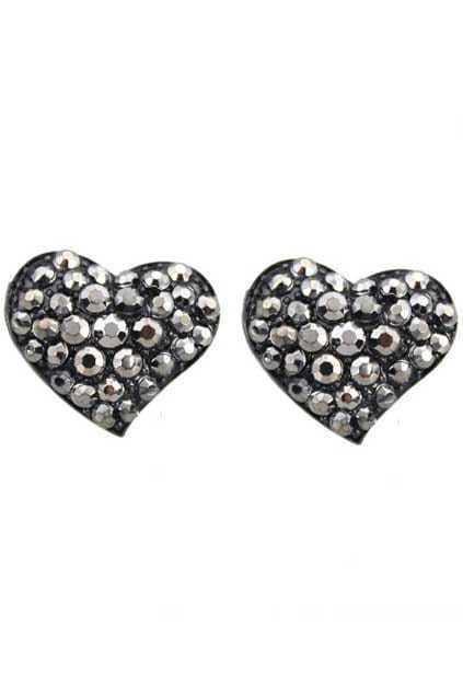 Heart-shaped Diamante Stud Earrings