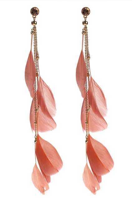 Chain Feather Pendant Earrings