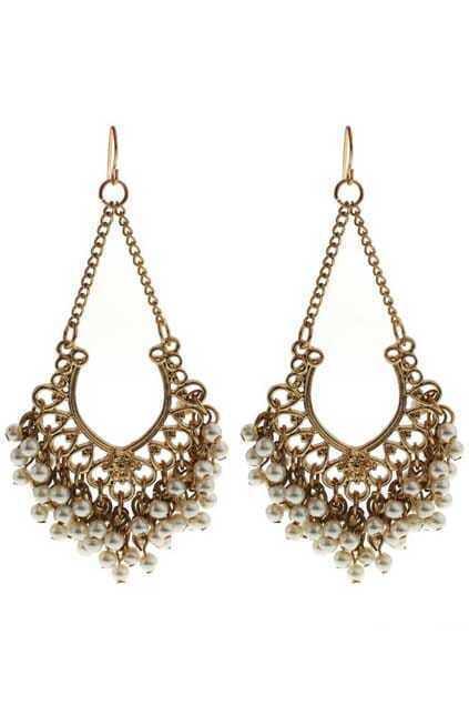Flower-shaped Jewel Pendant Earrings