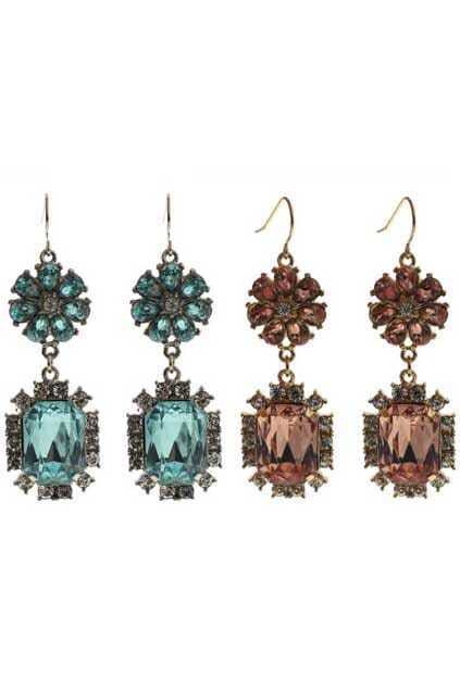 Flower-shaped Jewel Pendant Earrings