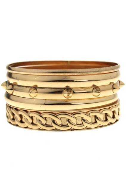 Golden Stud Assorted Bracelets