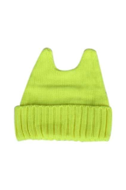 Cat Ear Upturned Trim Neon-green Hat