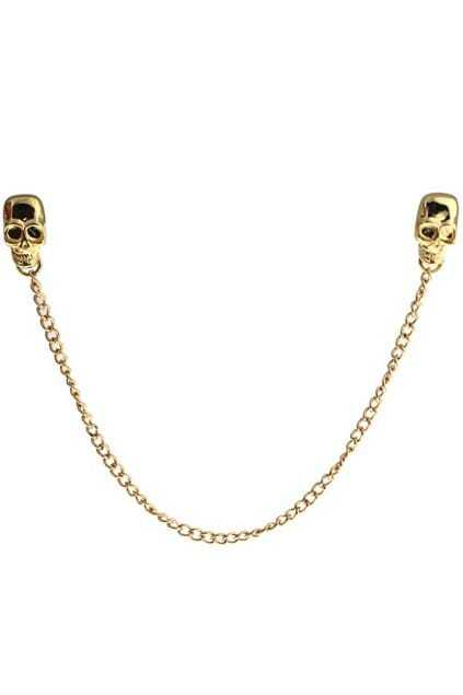 Skull Bone Charm Curb Chain Brooch