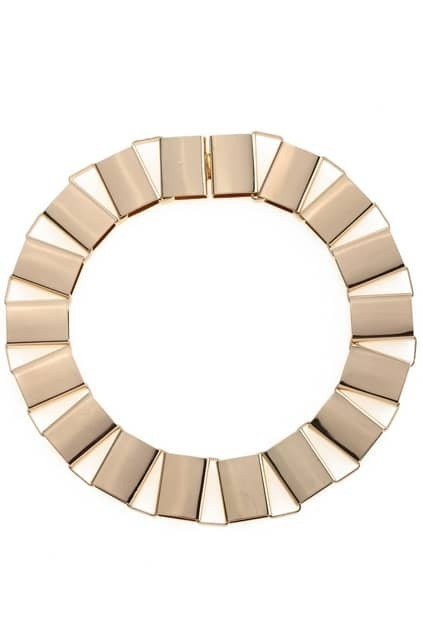 Rectangle Hollow Block Golden Necklace