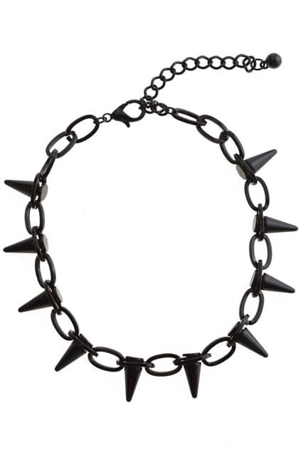Black Spike Chain Necklace