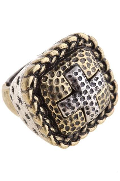 Square Shape Cross Retro Copper Ring