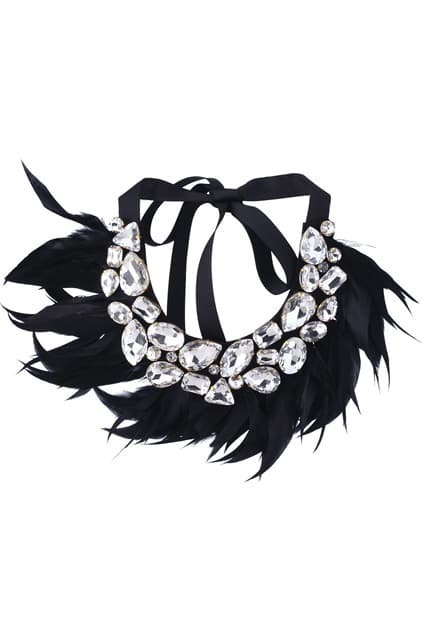 Feather Fake-Diamond Black Collar