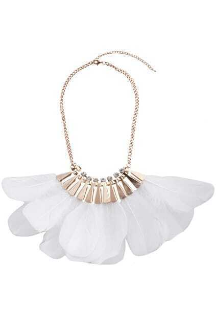 Chain White Feather Necklace